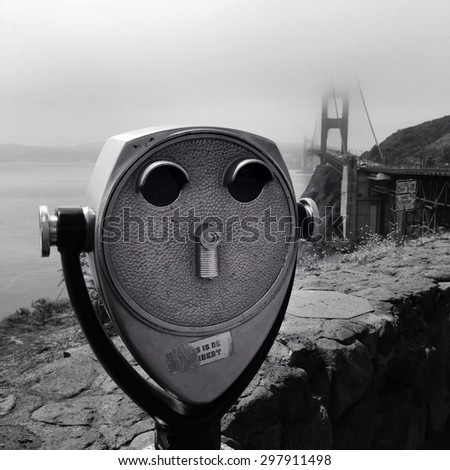 Coin operated binoculars, Golden Gate bridge, San Francisco - stock photo