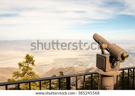 coin operated binoculars overlooking the californian desert at Palm Springs - stock photo