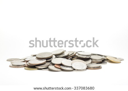 Coin pile Thai baht, on white background, Isolated