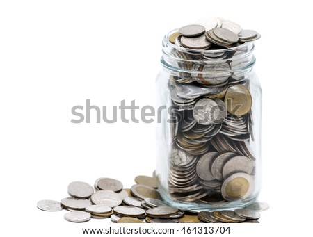 coin saving in a glass jar