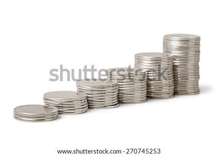 Coin, Silver, Stack.