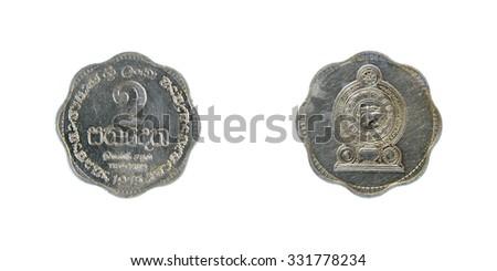 Coin Sri Lanka 2 cents Ceylon - stock photo