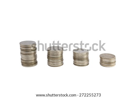 Coin stack in isolated white background