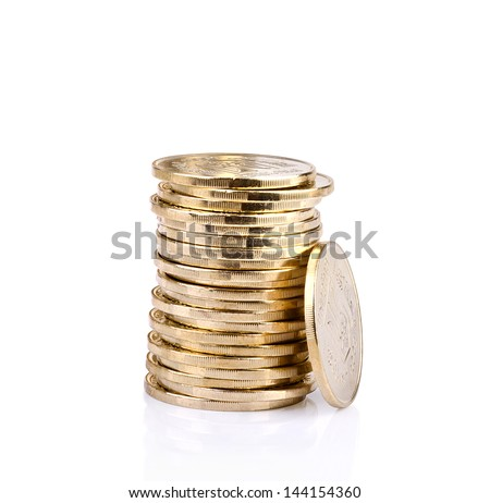 Coin stack isolated on white background. - stock photo