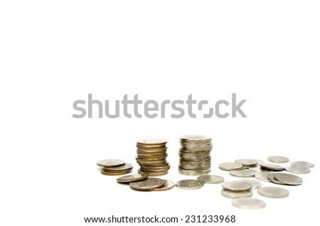 coin stack isolated on white background - stock photo