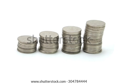 coin stack on white background