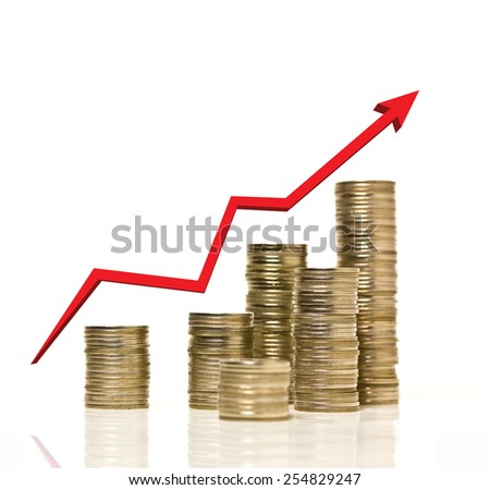 Coin stacks arrage with growing up red graph of successful business