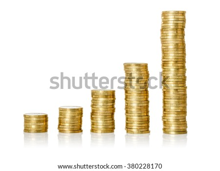 Coin stacks on a white background - stock photo