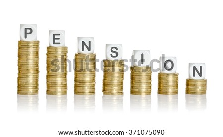 Coin stacks with letter dice - Pension - stock photo
