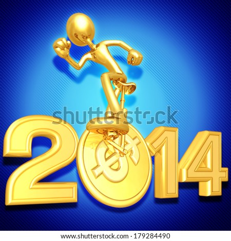 Coin Unicycle With Year - stock photo