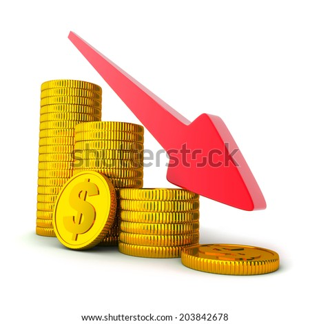 coins and arrow down (done in 3d, white background)  - stock photo