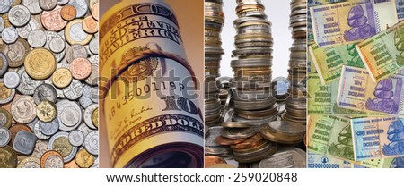 Coins and banknotes - Coins from around the world, Roll of United States Banknotes, Stacks of coins, and old Zimbabwe banknotes - One Hundred Trillion Dollars. - stock photo