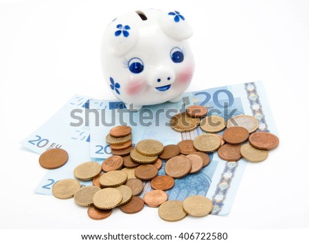 coins and euro with piggy bank