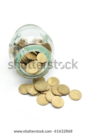 Coins and Glass Jar on White Background