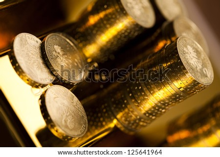 Coins and gold bar, Finance Concept - stock photo
