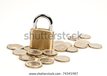 Coins and padlock on white - stock photo