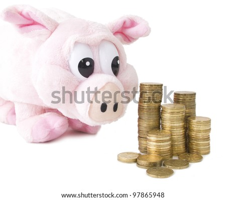 Coins and pink pig isolated on white background - stock photo