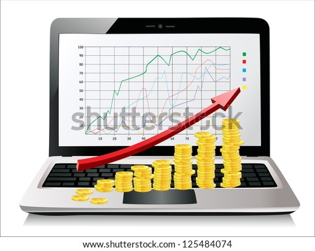 Coins and red arrow on laptop