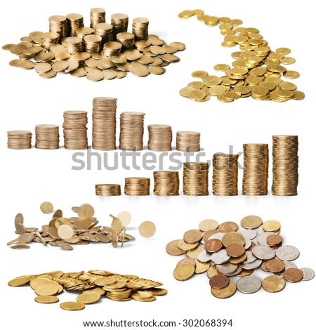 Coins, Currency, Falling. - stock photo