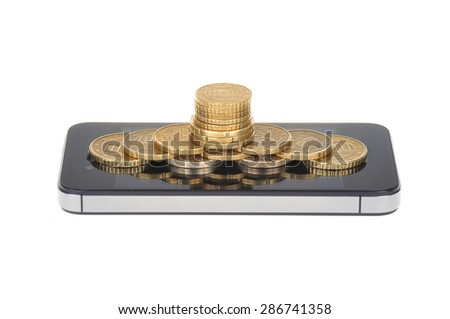 Coins, currency, mobile phone isolated on white background