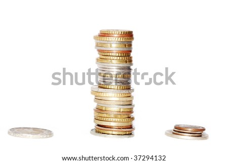 Coins details on the  isolated white background