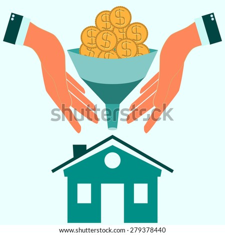 coins fall into the funnel in hands - stock photo