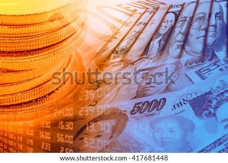 Coins, forex trading panel and portraits / images of famous leaders on banknotes, currencies of the most dominant countries in the world i.e. Japanese yen, US dollar, Chinese yuan, Australian dollar. - stock photo