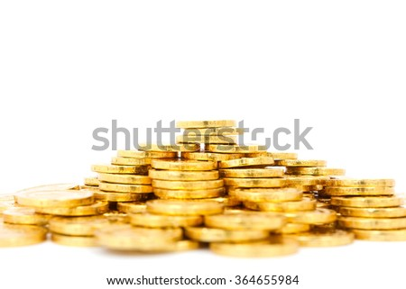 Coins from chocolate sweet on white background