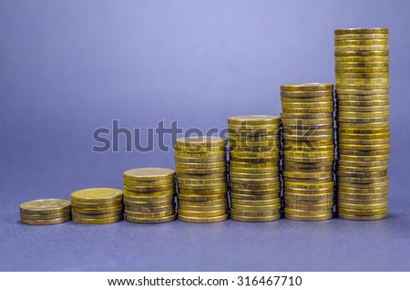 Coins graphic with staircase aspect isolated on blue