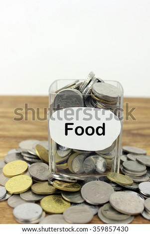Coins in a glass container with a label food. Financial concept.