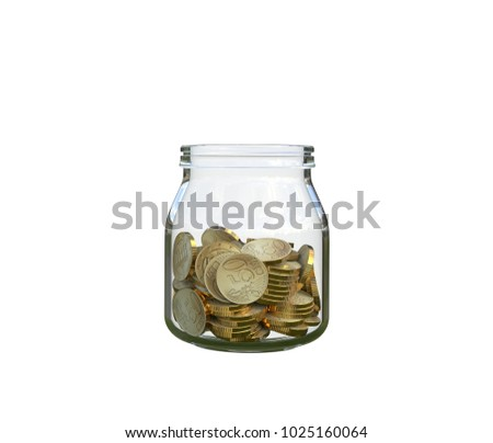 coins in a glass jar, 3d illustration
