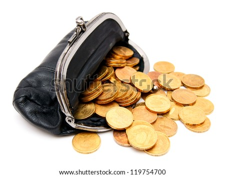 Coins in a purse on a white background. - stock photo