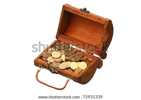 Coins in a trunk on a white background