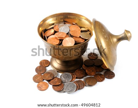 coins in an old vase