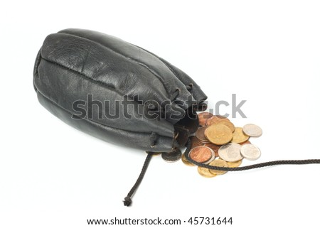 Coins in black sack isolated on white background - stock photo