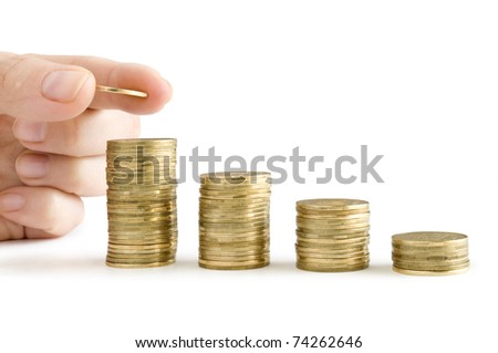 coins in ginger and row stacks them isolated on white