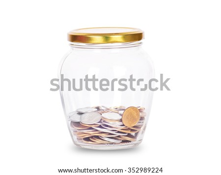 Coins in glass money jar, on white background - stock photo