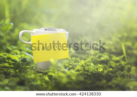 Coins in glass money mug with saving label, blurred grass view at background. Financial concept. - stock photo
