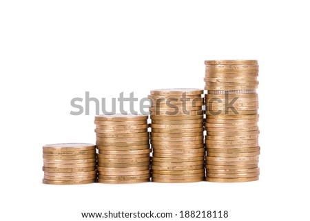 Coins in growth chart, isolated on white background. - stock photo
