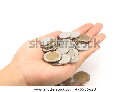 coins in hand. Concept of saving or invest.