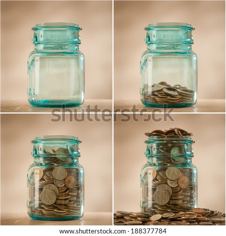 Coins in savings jar being filled, collage - stock photo