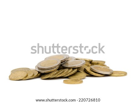 coins isolated on white - stock photo