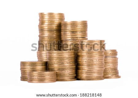 Coins, isolated on white background. - stock photo