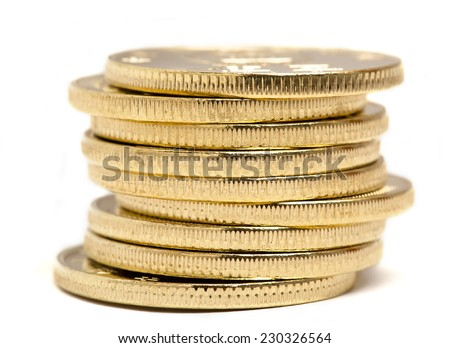 Coins isolated on white Background - stock photo