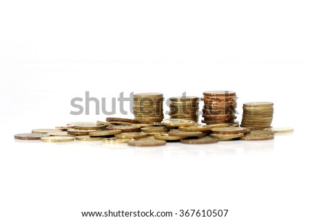 Coins isolated white background