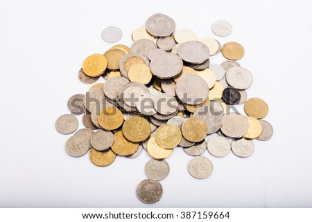 coins money on white background