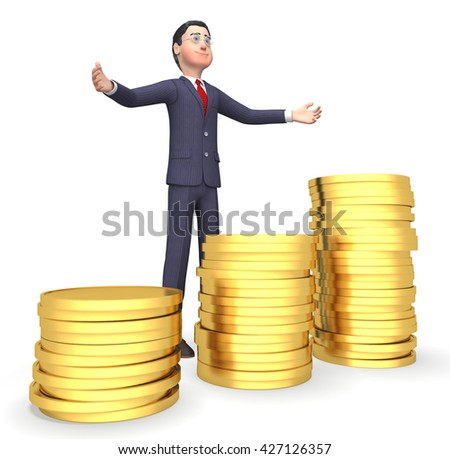 Coins Money Showing Business Person And Earn 3d Rendering