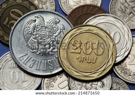 Coins of Armenia. Armenian two hundred dram coin and Armenian national coat of arms depicted in Armenian dram coins. - stock photo