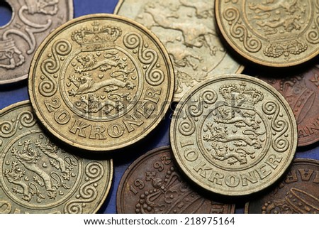 Coins of Denmark. Danish national coat of arms depicted in Danish krone coins. - stock photo
