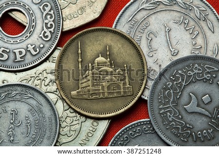 Coins of Egypt. Mosque of Muhammad Ali (Alabaster Mosque) in Cairo depicted in the Egyptian 10 piastre (qirsh) coin from 1992. - stock photo